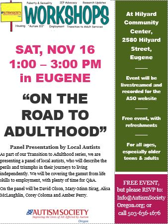 On the Road to Adulthood - Panel Discussion @ Hilyard Community Center | Eugene | Oregon | United States